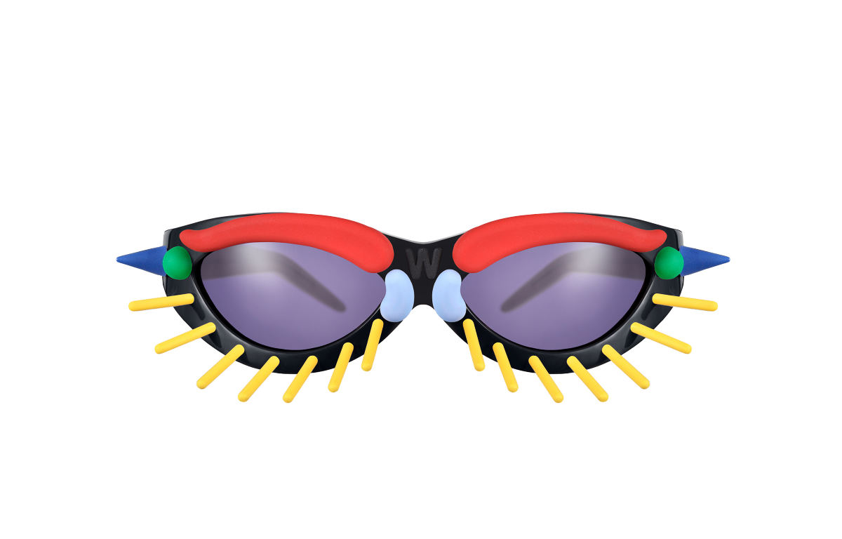 FAKBYFAK x Walter Van Beirendonck Couture sunglasses Toy Glasses Model 1. Black with coloured pins Code: 09/01/01