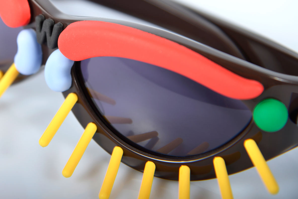 FAKBYFAK x Walter Van Beirendonck Couture sunglasses Toy Glasses Model 1. Dark brown with coloured pins Code: 09/01/02