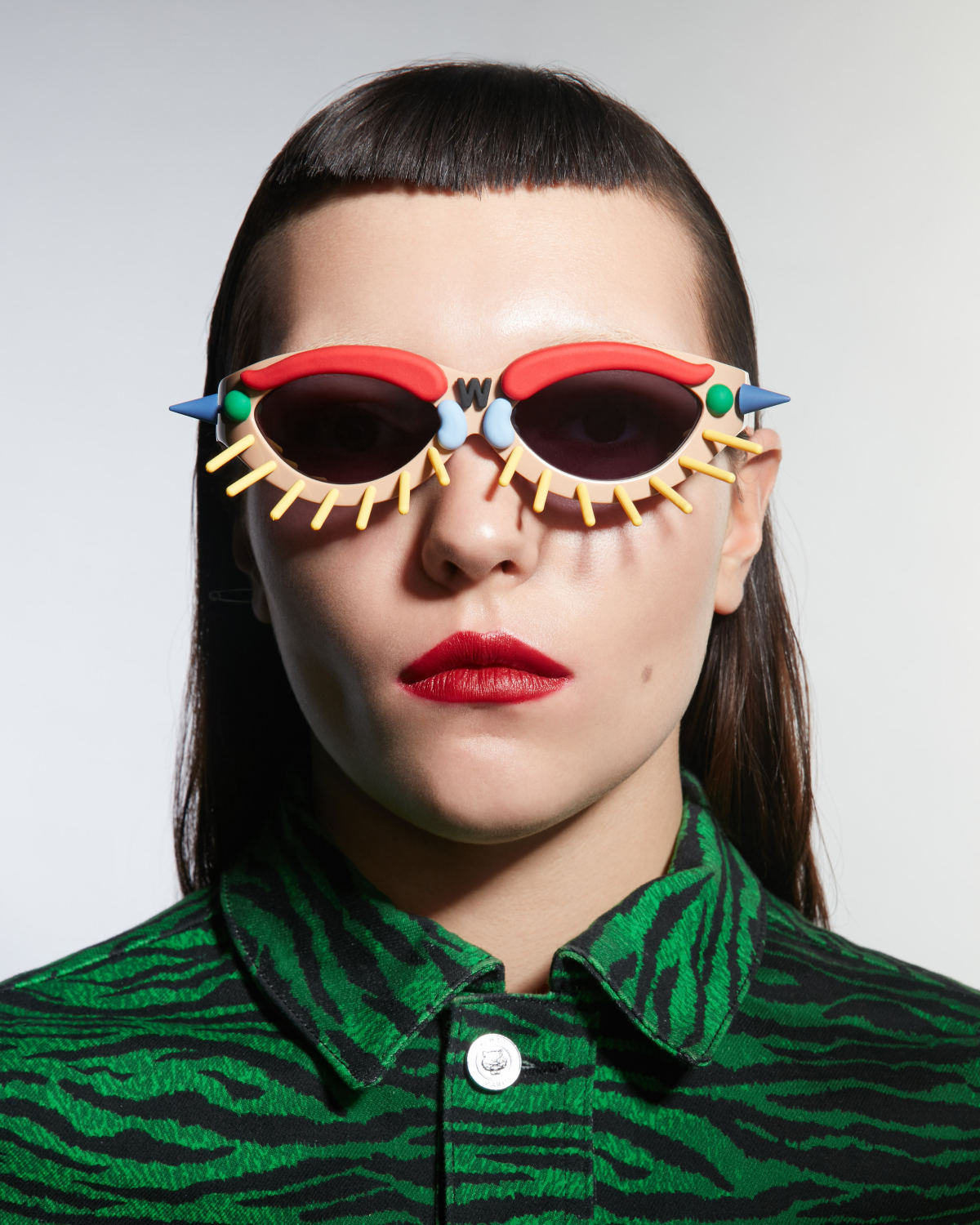 FAKBYFAK x Walter Van Beirendonck Couture sunglasses Toy Glasses Model 1. Light brown with coloured pins Code: 09/01/03