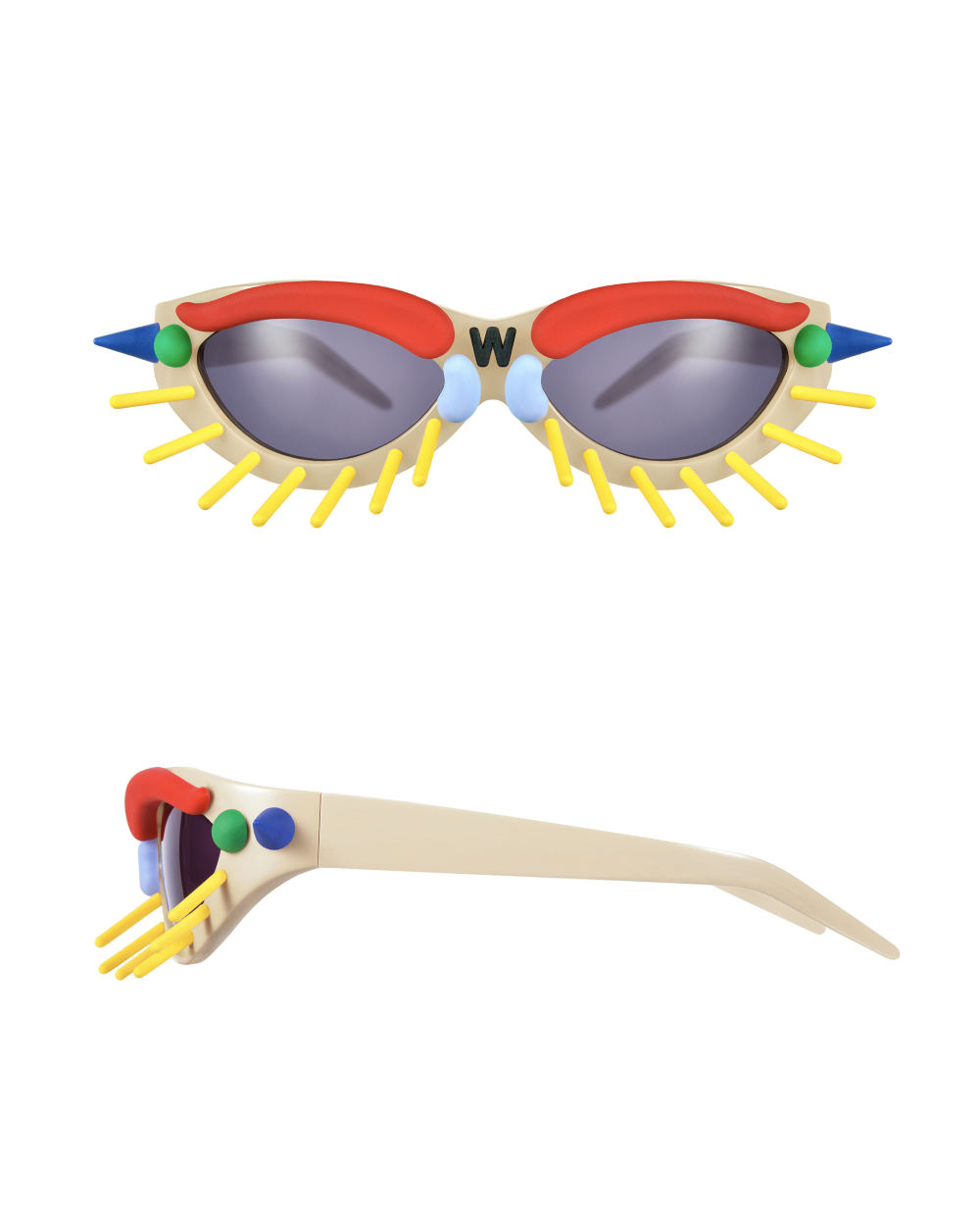Toy Glasses Model 1. Skin tone with coloured pins