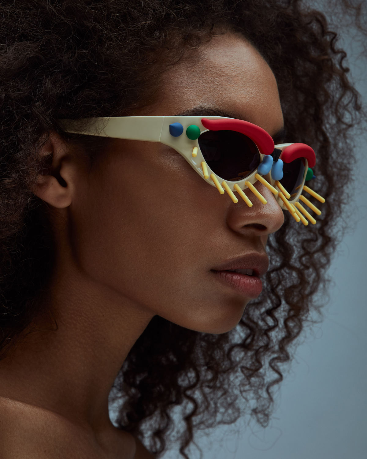FAKBYFAK x Walter Van Beirendonck Couture sunglasses Toy Glasses Model 1. Skin tone with coloured pins Code: 09/01/04