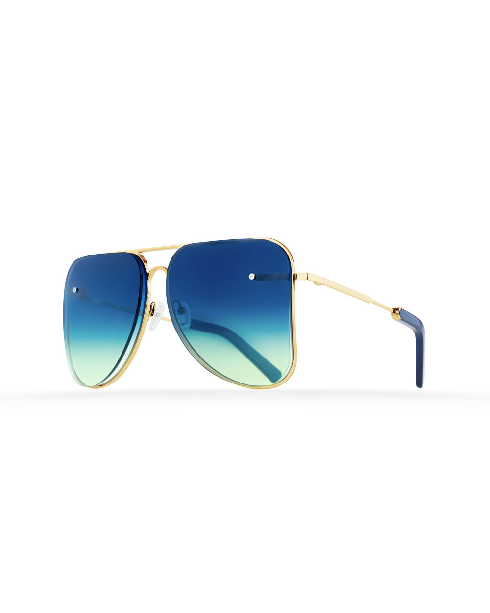 Blue aviator Model 1. Golden metal frame