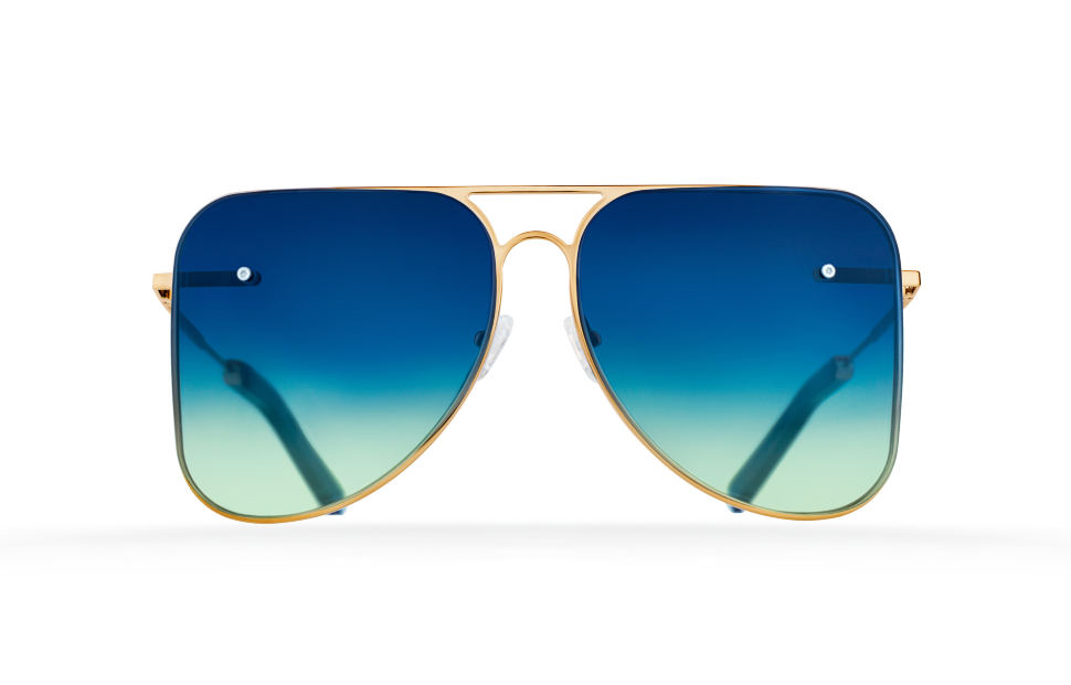 Blue double rotating lenses aviator Model 1. Golden metal frame