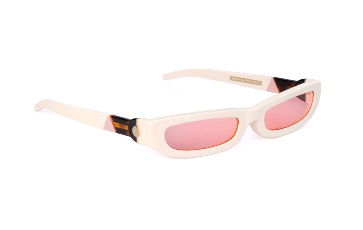 FAKBYFAK x Pilar Zeta Fashion sunglasses Model SHARP. Sun. Glossy Ivory & Pink Code: 14/01/03