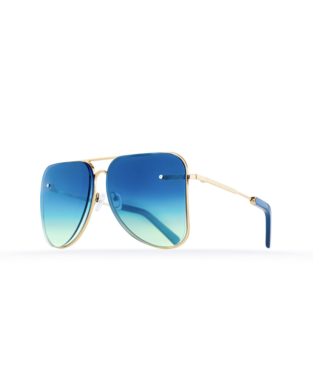 Light blue aviator Model 1. Golden metal frame
