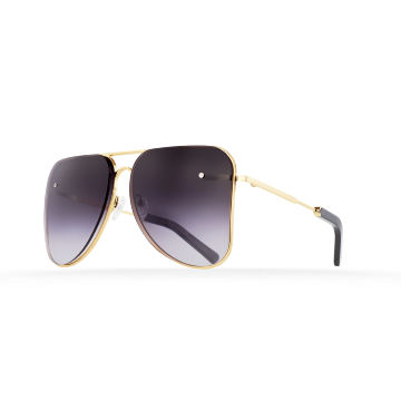 Dark grey gradient aviator Model 1. Golden metal frame