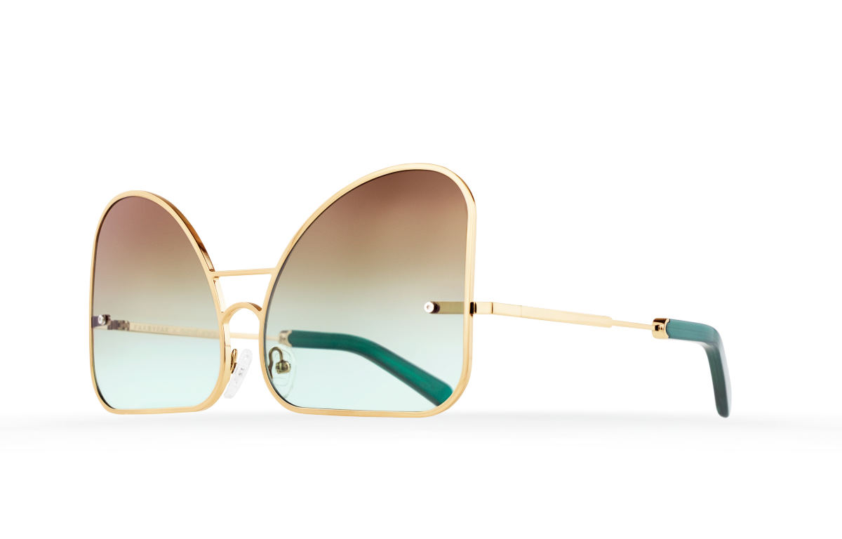 FAKBYFAK Fashion sunglasses Inverted mint chocolate gradient lenses aviator Model 2. Golden metal frame Code: 07/02/01
