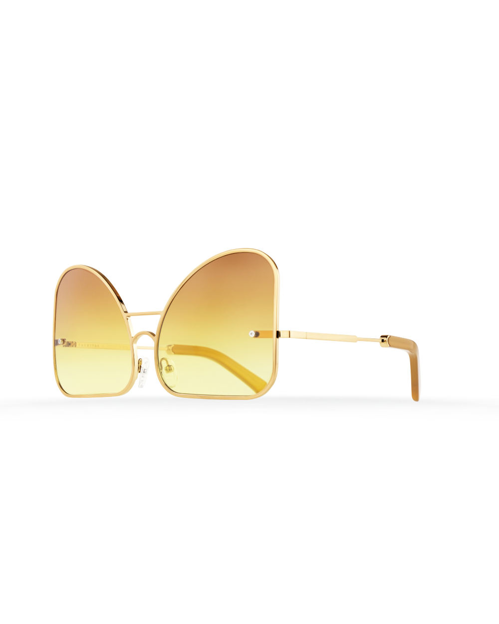Inverted yellow gradient lenses aviator Model 2. Golden metal frame