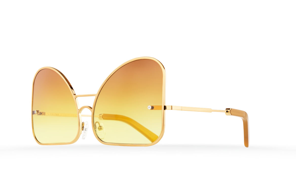 FAKBYFAK Fashion sunglasses Inverted yellow gradient lenses aviator Model 2. Golden metal frame Code: 07/02/02