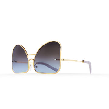 Inverted blue chocolate gradient lenses aviator Model 2. Golden metal frame