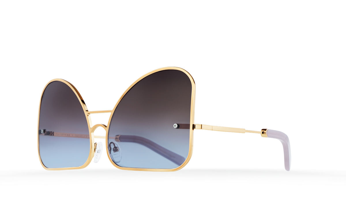 FAKBYFAK Fashion sunglasses Inverted blue chocolate gradient lenses aviator Model 2. Golden metal frame Code: 07/02/03
